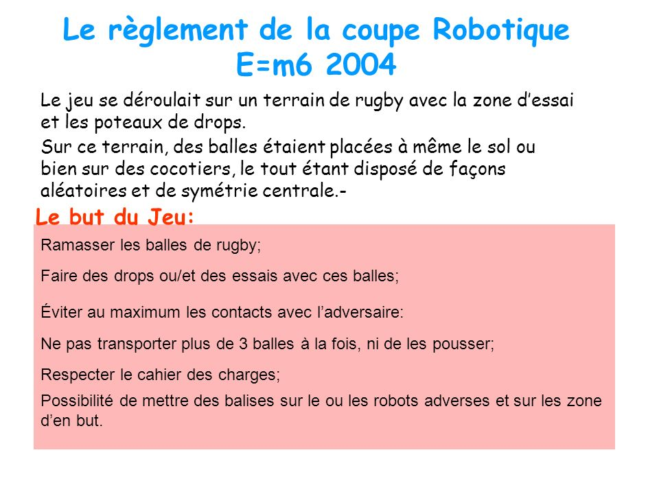 Le règlement de la coupe Robotique E=m6 2004