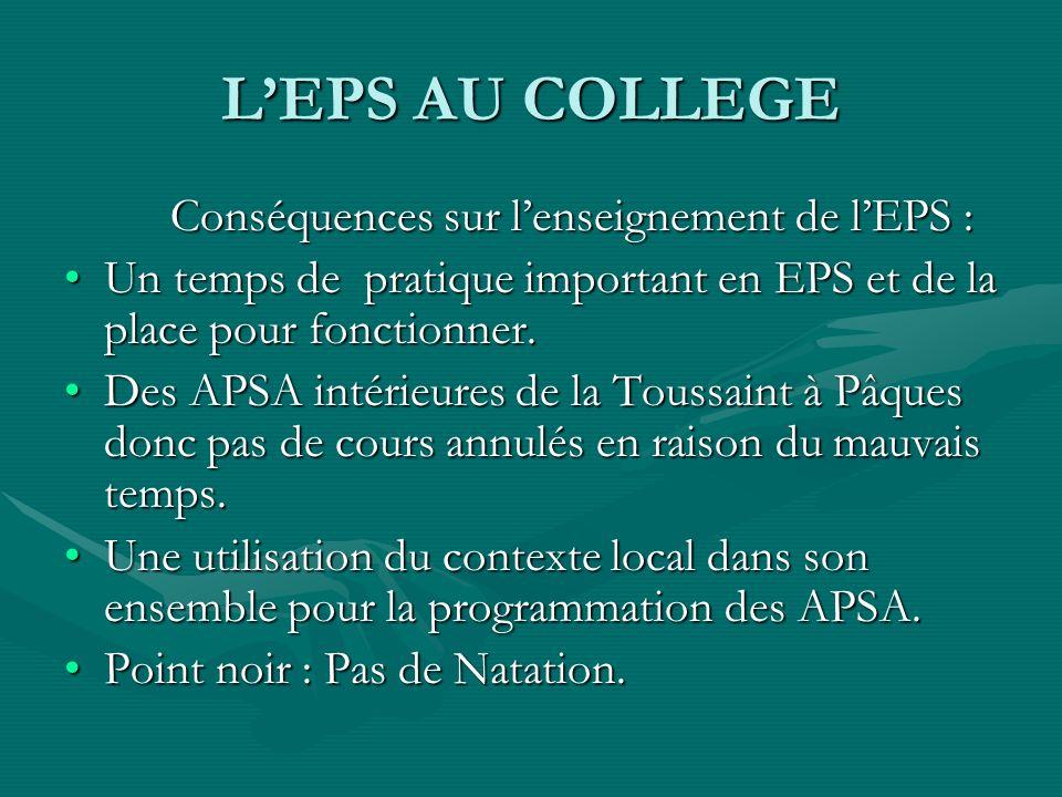L'EPS AU COLLEGE Conséquences sur l'enseignement de l'EPS :