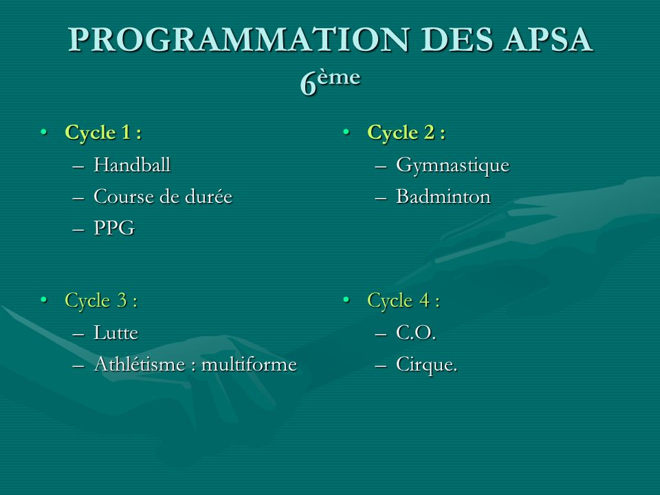 PROGRAMMATION DES APSA 6ème