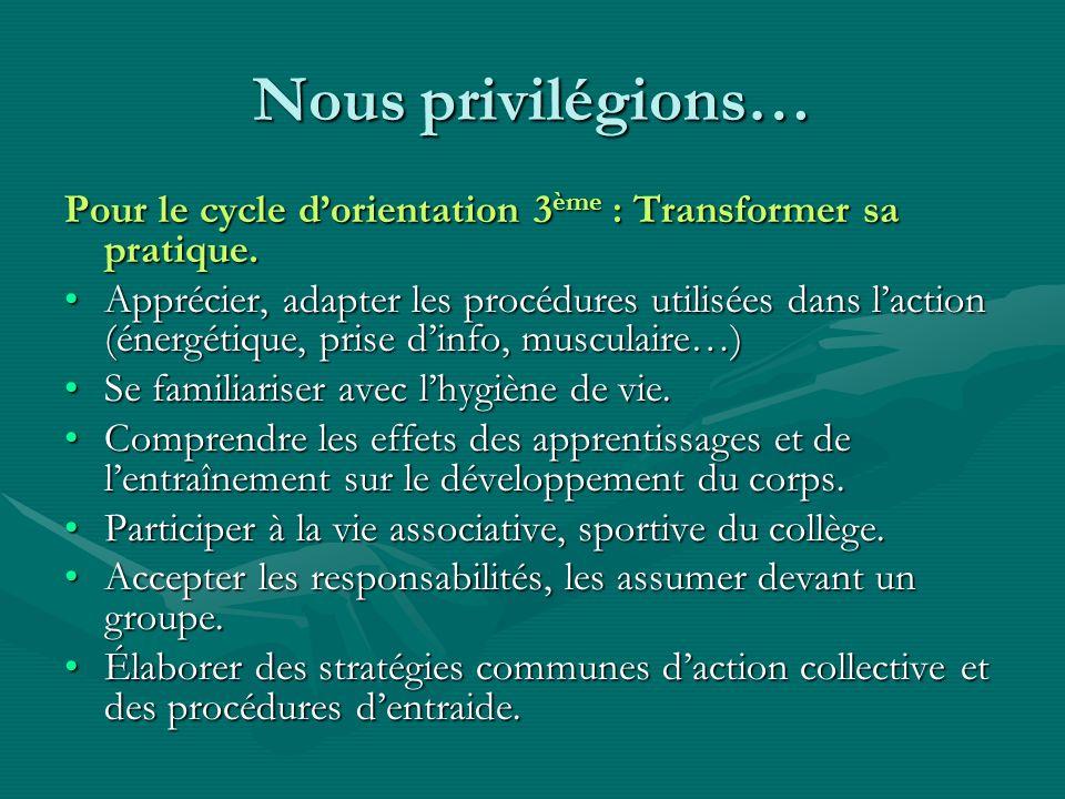 Nous privilégions… Pour le cycle d'orientation 3ème : Transformer sa pratique.