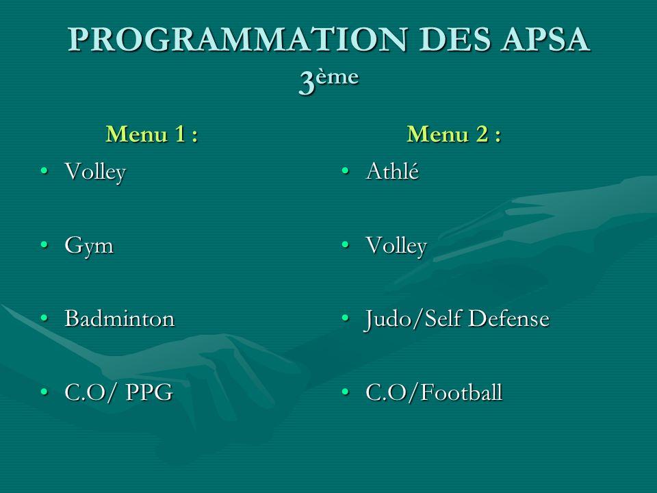 PROGRAMMATION DES APSA 3ème
