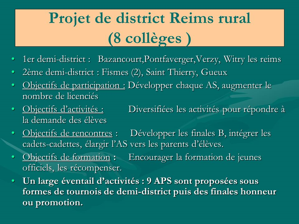 Projet de district Reims rural (8 collèges )