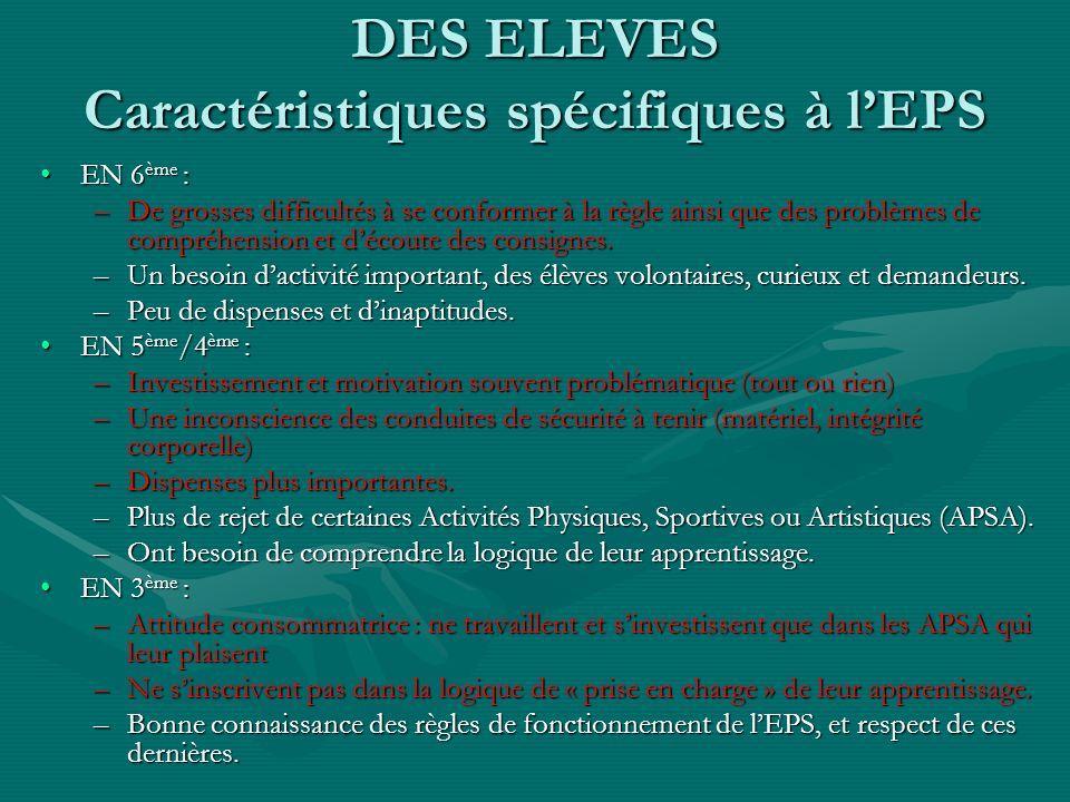 DES ELEVES Caractéristiques spécifiques à l'EPS