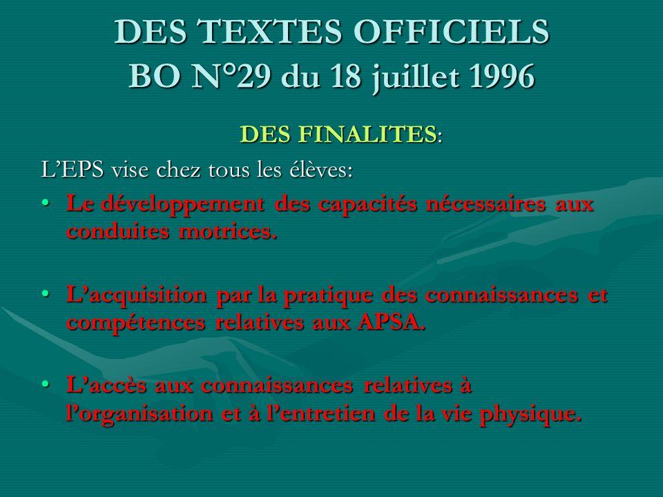 DES TEXTES OFFICIELS BO N°29 du 18 juillet 1996