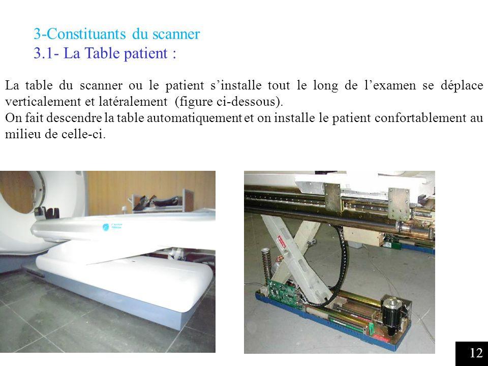 3-Constituants du scanner 3.1- La Table patient :