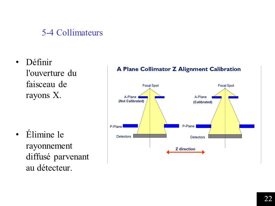 5-4 Collimateurs Définir l ouverture du faisceau de rayons X.