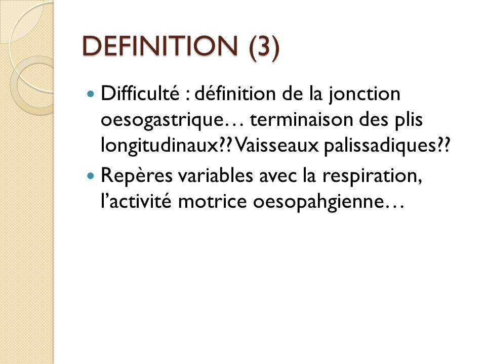 DEFINITION (3) Difficulté : définition de la jonction oesogastrique… terminaison des plis longitudinaux Vaisseaux palissadiques