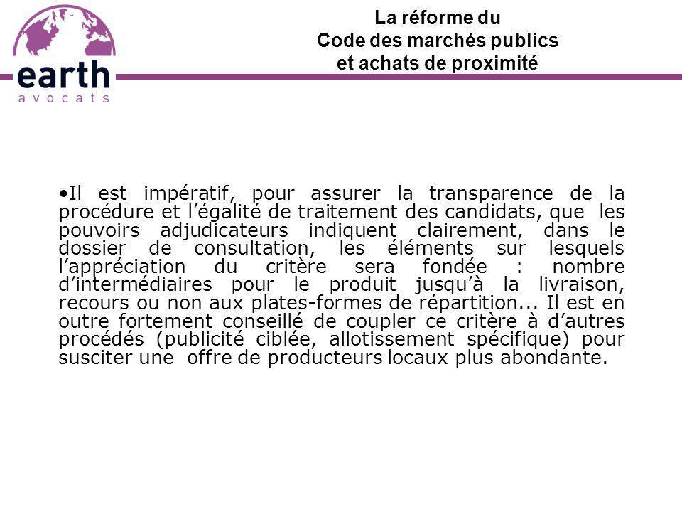 La réforme du Code des marchés publics et achats de proximité