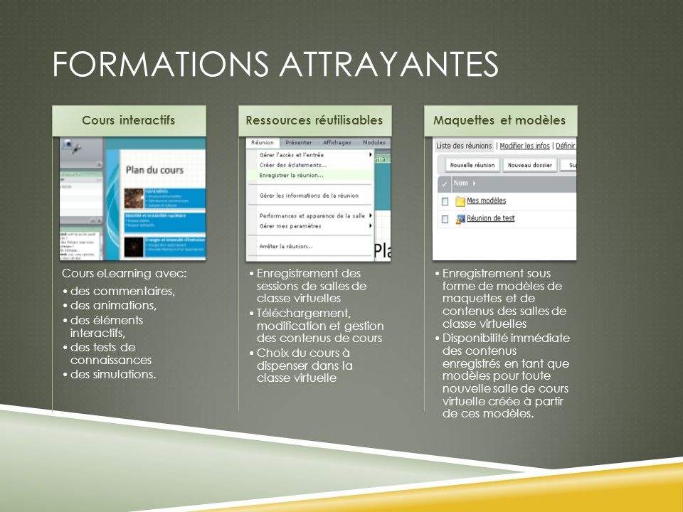 Formations attrayantes