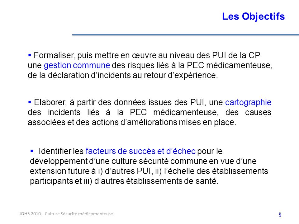 Les Objectifs Formaliser, puis mettre en œuvre au niveau des PUI de la CP. une gestion commune des risques liés à la PEC médicamenteuse,