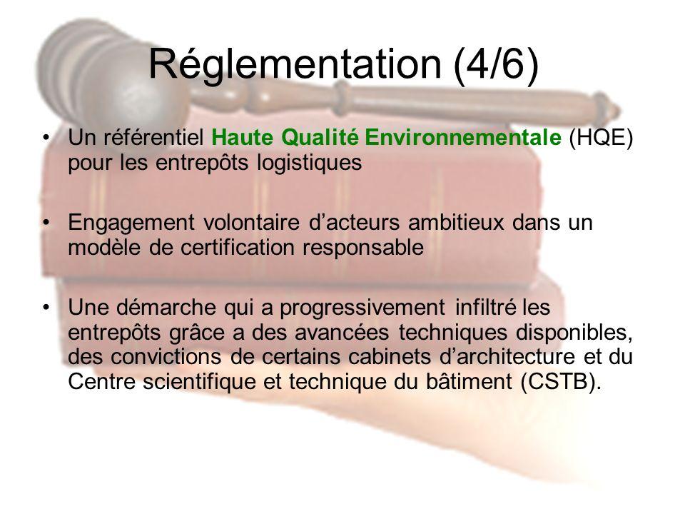 Réglementation (4/6) Un référentiel Haute Qualité Environnementale (HQE) pour les entrepôts logistiques.