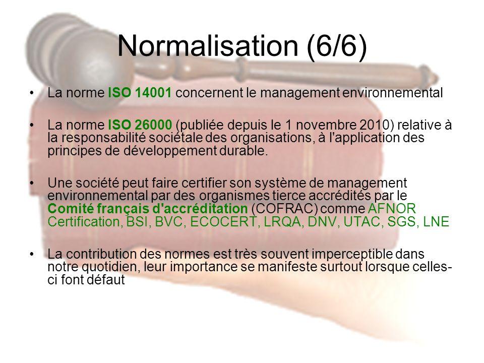 Normalisation (6/6) La norme ISO 14001 concernent le management environnemental.