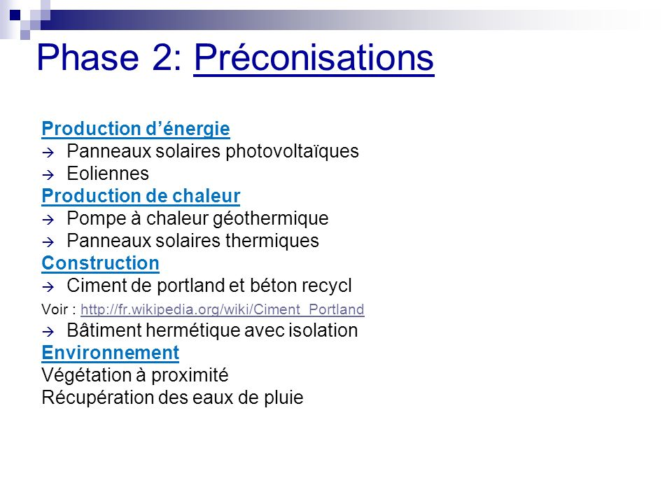 Phase 2: Préconisations