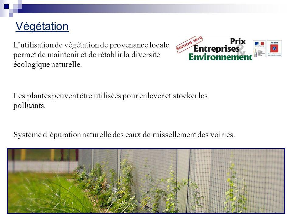 Végétation L'utilisation de végétation de provenance locale