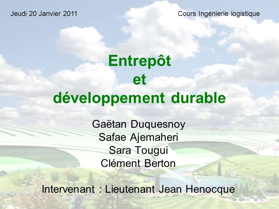 Entrepôt et développement durable
