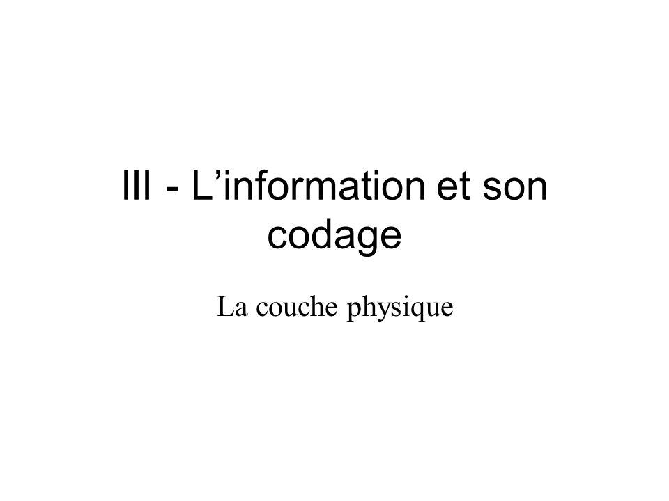 III - L'information et son codage