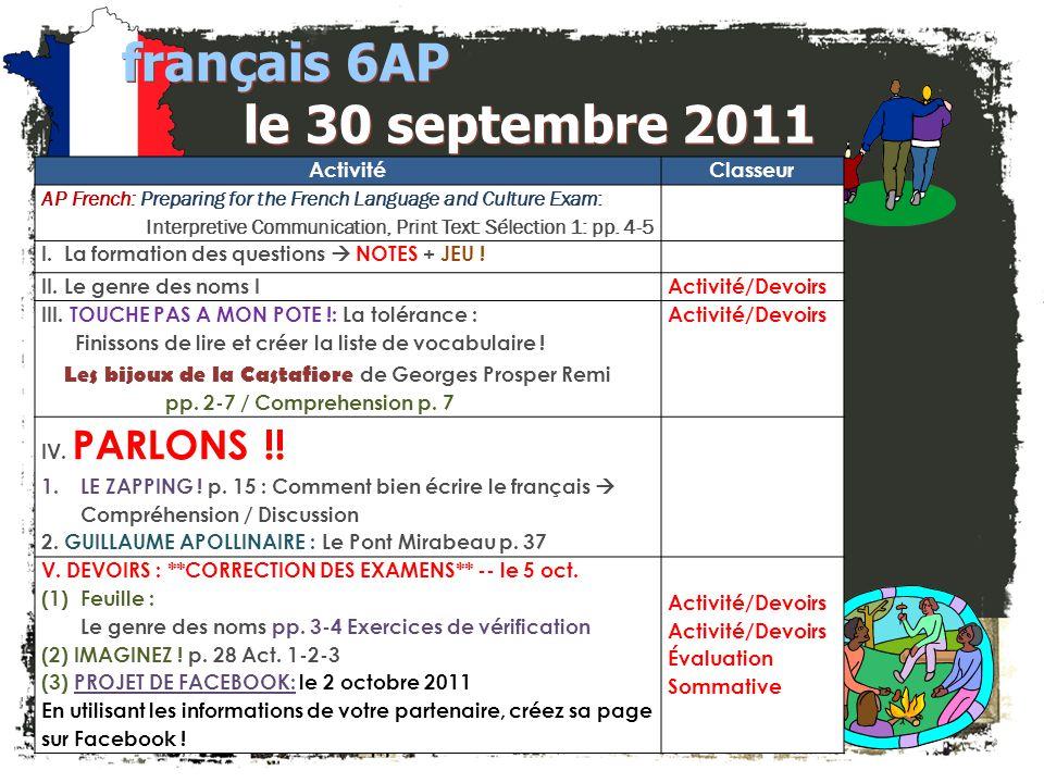 français 6AP le 30 septembre 2011