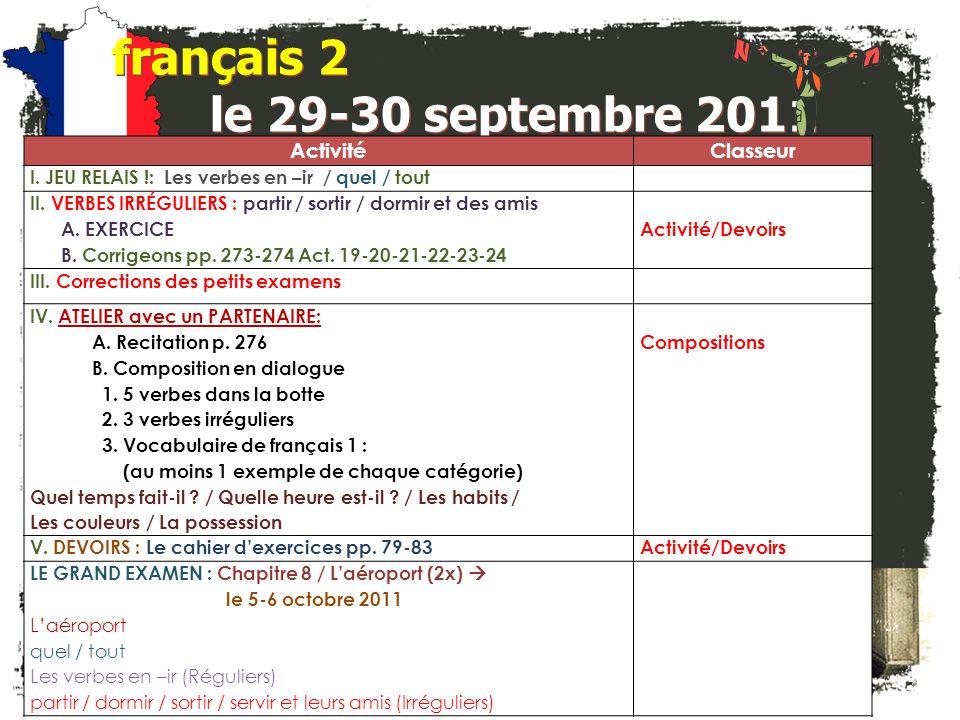 français 2 le 29-30 septembre 2011