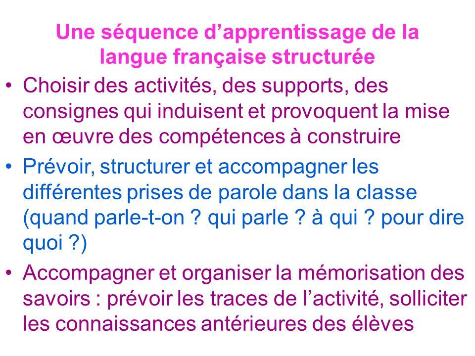 Une séquence d'apprentissage de la langue française structurée