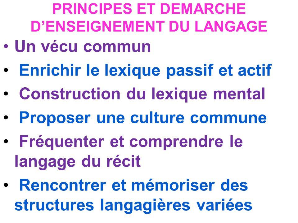 PRINCIPES ET DEMARCHE D'ENSEIGNEMENT DU LANGAGE