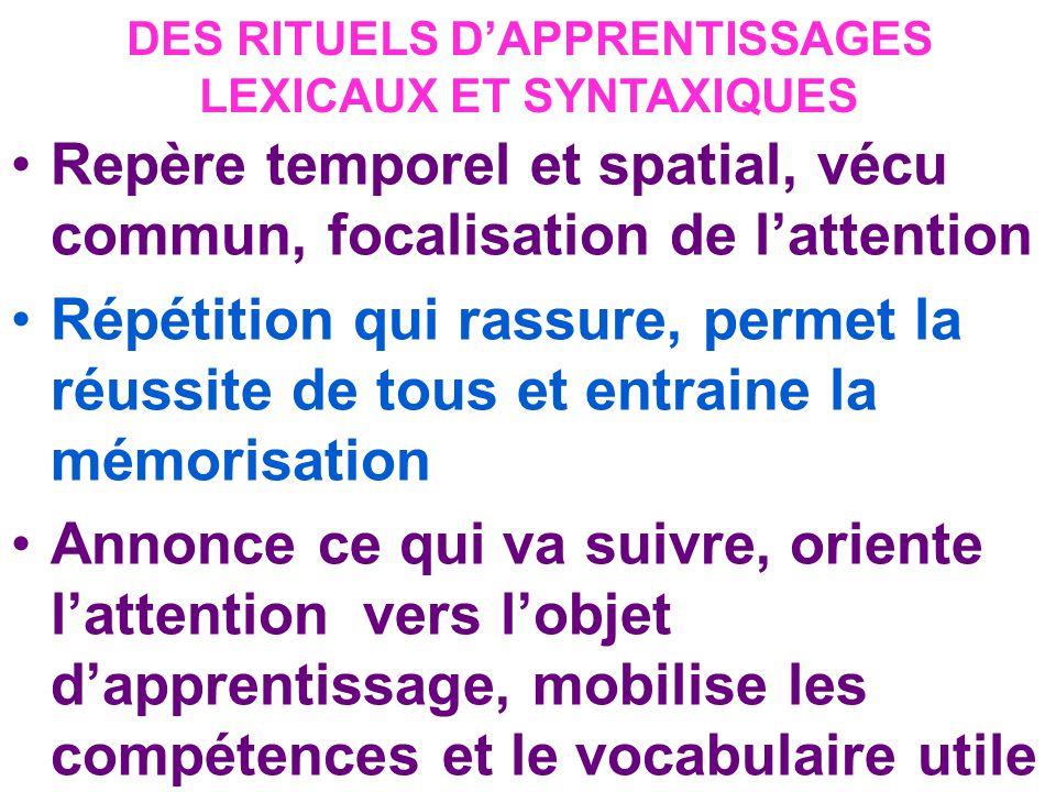 DES RITUELS D'APPRENTISSAGES LEXICAUX ET SYNTAXIQUES
