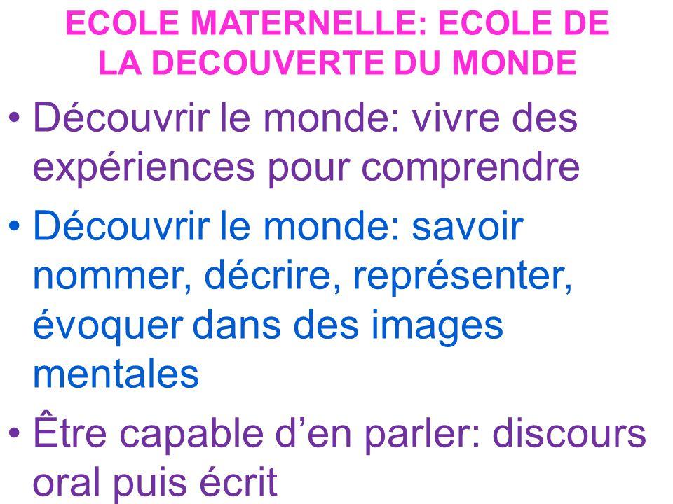 ECOLE MATERNELLE: ECOLE DE LA DECOUVERTE DU MONDE