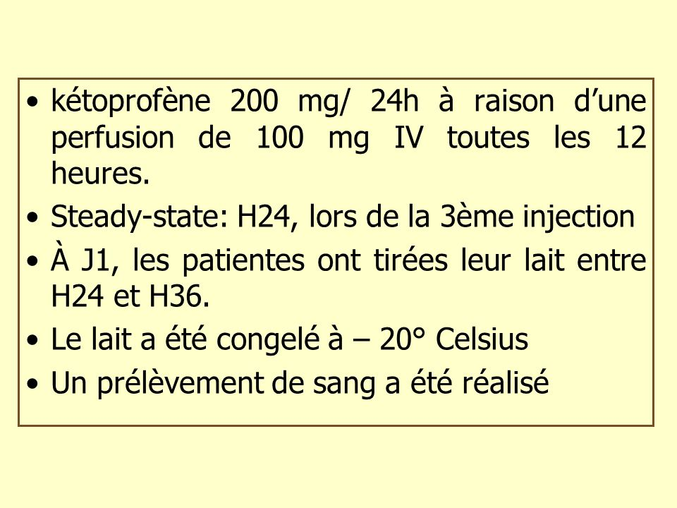 kétoprofène 200 mg/ 24h à raison d'une perfusion de 100 mg IV toutes les 12 heures.