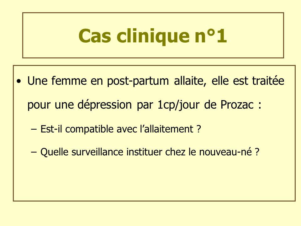 Cas clinique n°1Une femme en post-partum allaite, elle est traitée pour une dépression par 1cp/jour de Prozac :