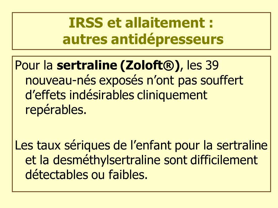 IRSS et allaitement : autres antidépresseurs