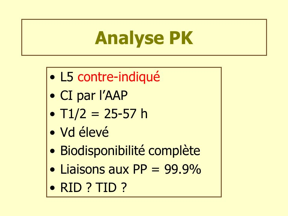 Analyse PK L5 contre-indiqué CI par l'AAP T1/2 = 25-57 h Vd élevé