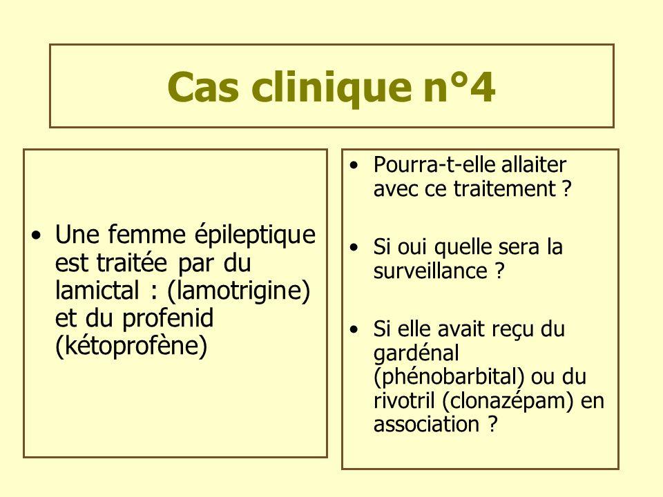 Cas clinique n°4Une femme épileptique est traitée par du lamictal : (lamotrigine) et du profenid (kétoprofène)