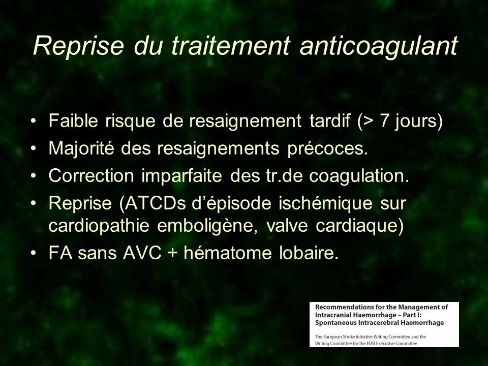 Reprise du traitement anticoagulant