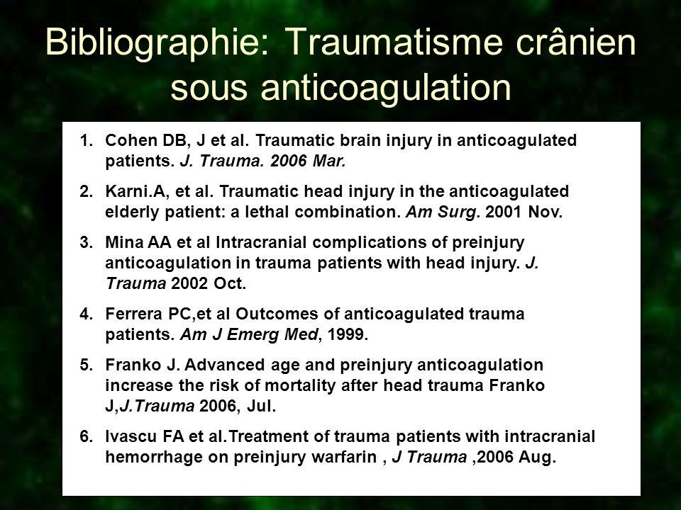 Bibliographie: Traumatisme crânien sous anticoagulation