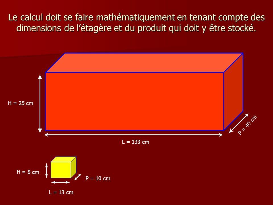 Le calcul doit se faire mathématiquement en tenant compte des dimensions de l'étagère et du produit qui doit y être stocké.