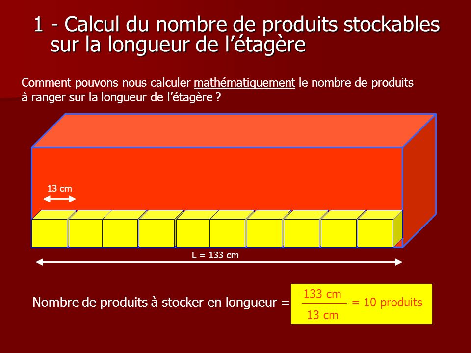 1 - Calcul du nombre de produits stockables sur la longueur de l'étagère