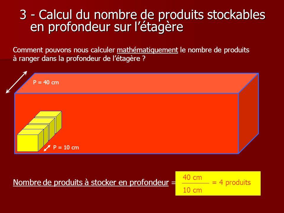 3 - Calcul du nombre de produits stockables en profondeur sur l'étagère