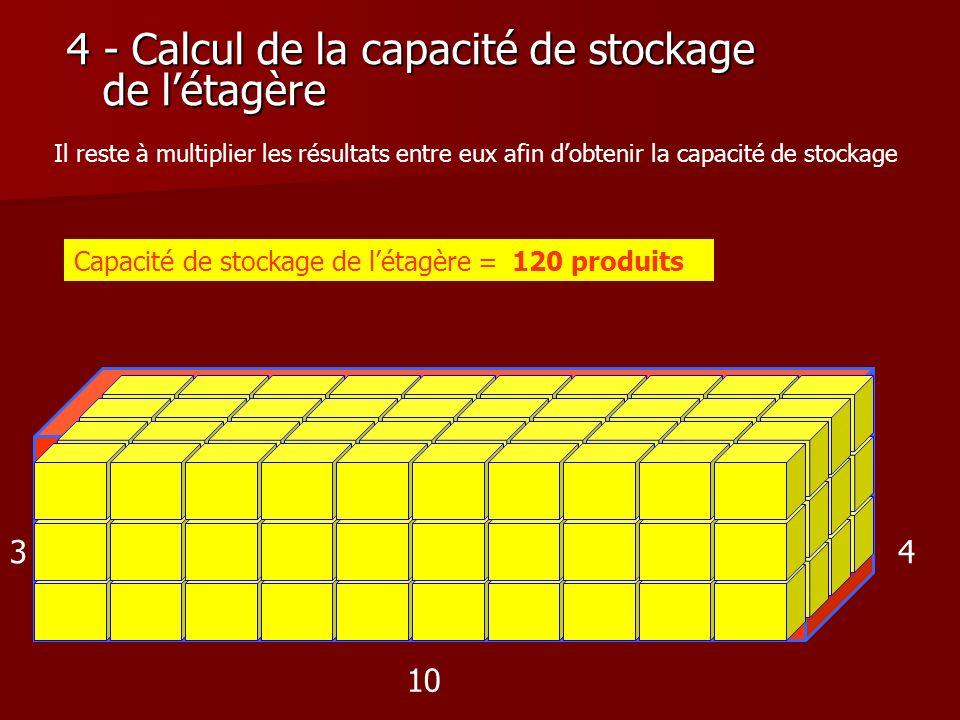 4 - Calcul de la capacité de stockage de l'étagère
