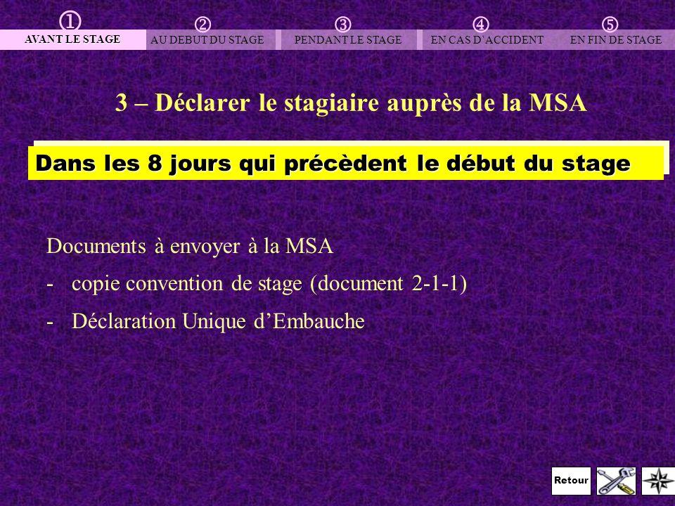 3 – Déclarer le stagiaire auprès de la MSA