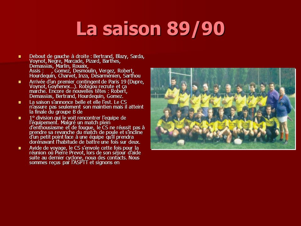 La saison 89/90