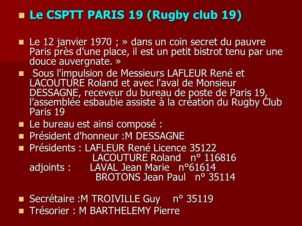 Le CSPTT PARIS 19 (Rugby club 19)