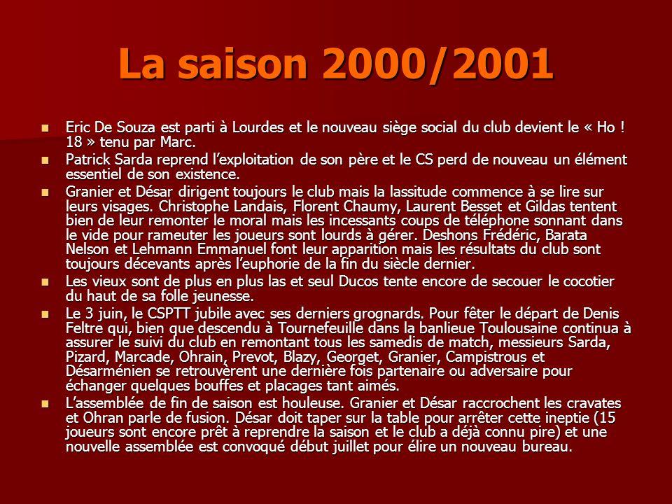 La saison 2000/2001 Eric De Souza est parti à Lourdes et le nouveau siège social du club devient le « Ho ! 18 » tenu par Marc.