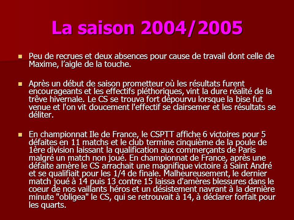 La saison 2004/2005 Peu de recrues et deux absences pour cause de travail dont celle de Maxime, l'aigle de la touche.