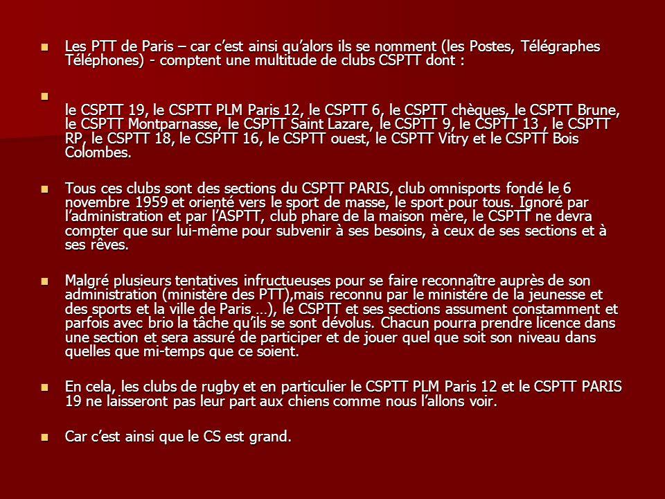 Les PTT de Paris – car c'est ainsi qu'alors ils se nomment (les Postes, Télégraphes Téléphones) - comptent une multitude de clubs CSPTT dont :