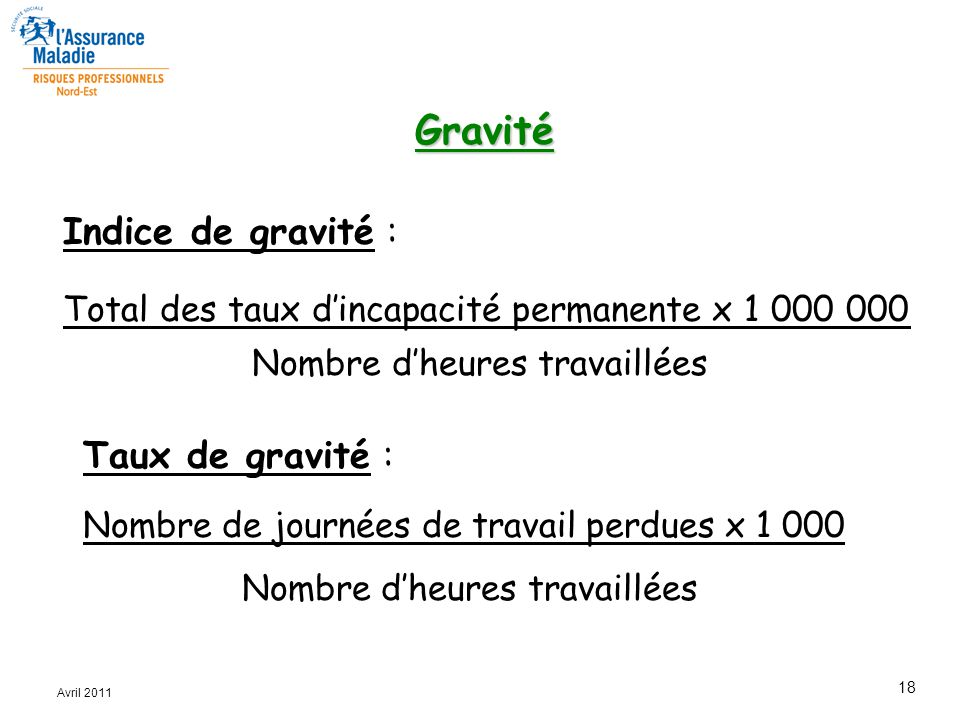 Gravité Indice de gravité : Taux de gravité :