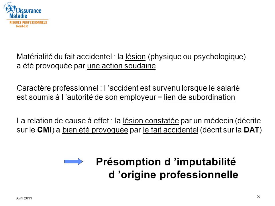 Présomption d 'imputabilité d 'origine professionnelle