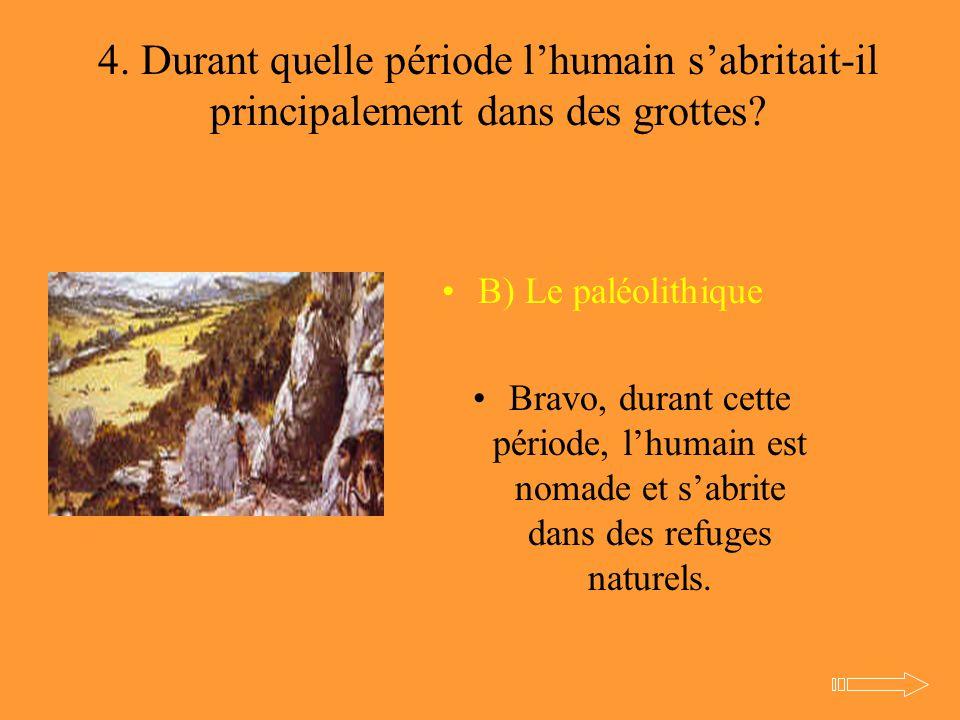 4. Durant quelle période l'humain s'abritait-il principalement dans des grottes