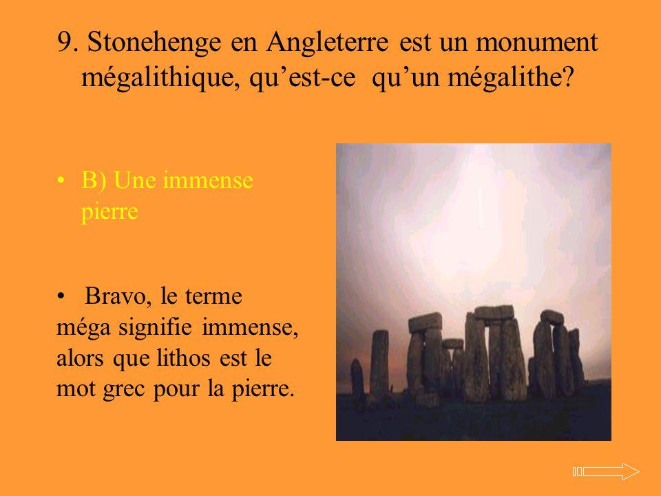 9. Stonehenge en Angleterre est un monument mégalithique, qu'est-ce qu'un mégalithe