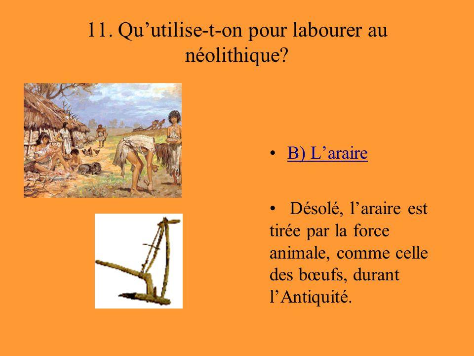 11. Qu'utilise-t-on pour labourer au néolithique