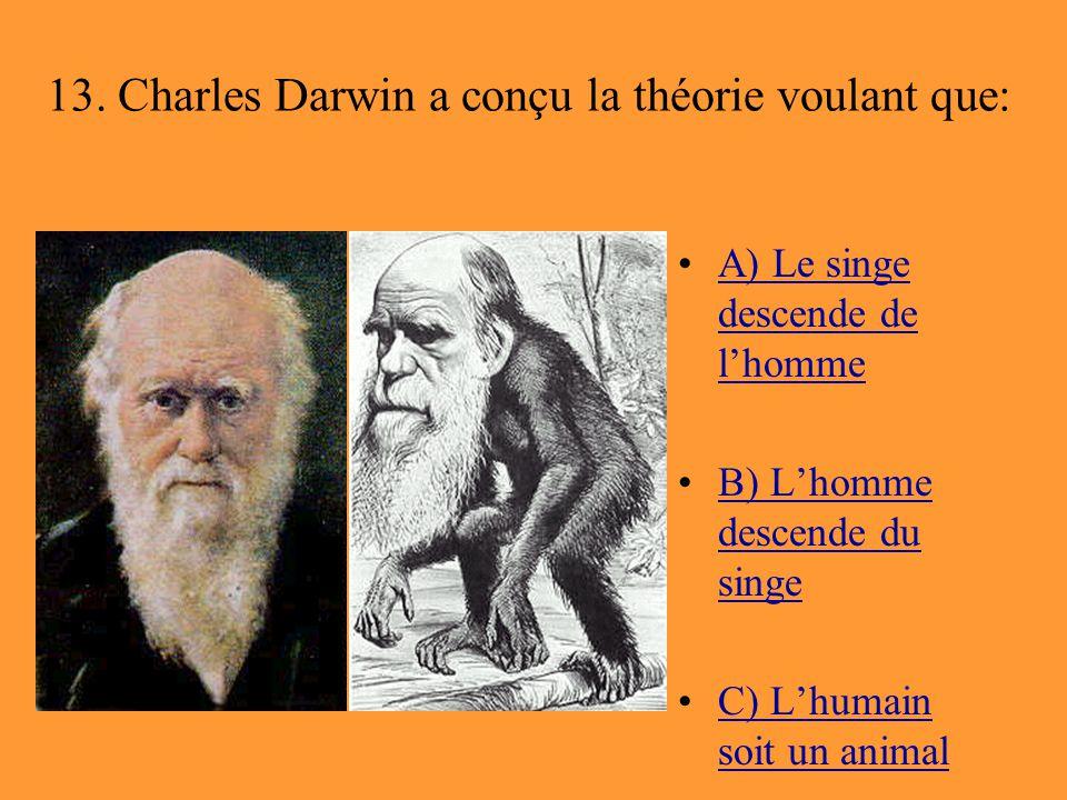 13. Charles Darwin a conçu la théorie voulant que: