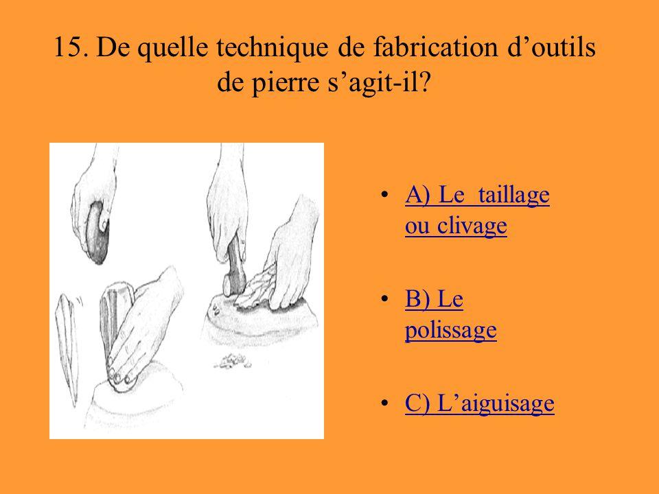 15. De quelle technique de fabrication d'outils de pierre s'agit-il